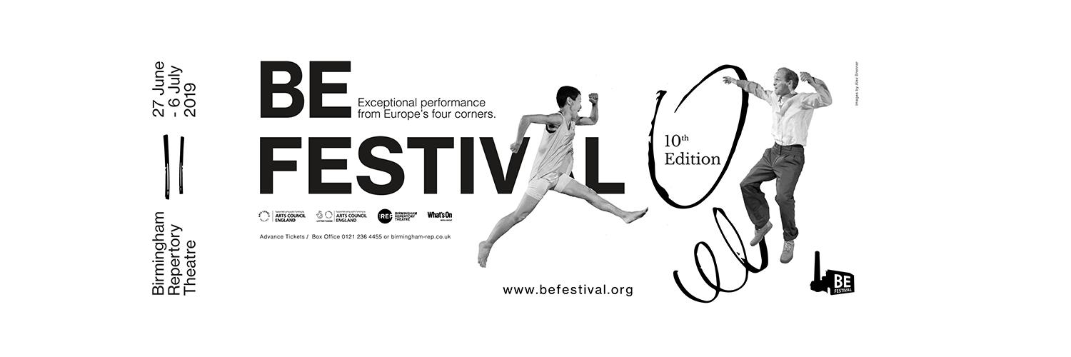 A black and white banner advertising BE Festival 2019. Two performers jump between text which gives details on dates and location of the festival.